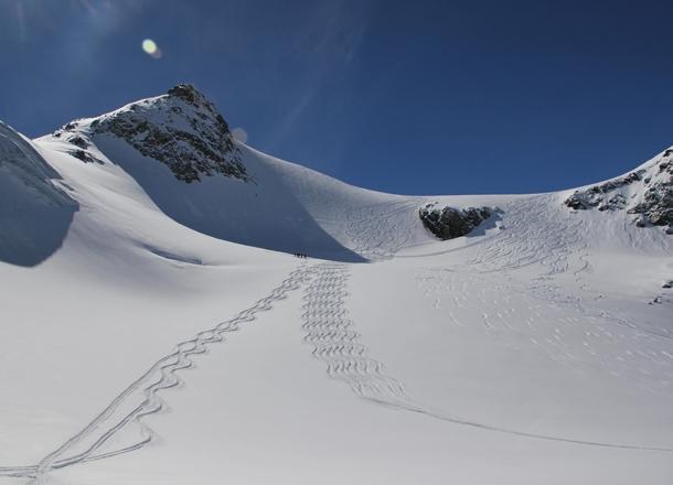 Glacier skiing.