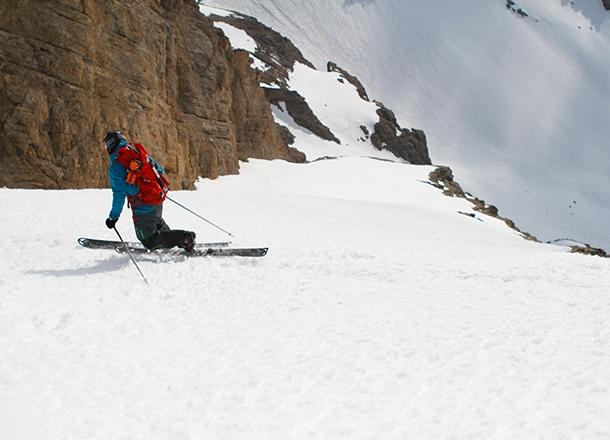 Steep telemark skiing.